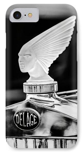 1931 Delage D8 Sports Tourer Lalique Hood Ornament -1433bw IPhone Case by Jill Reger
