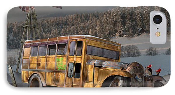 IPhone Case featuring the digital art 1931 Ford School Bus by Stuart Swartz