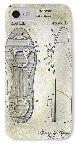 1932 Baseball Cleat Patent Blueprint IPhone Case by Jon Neidert