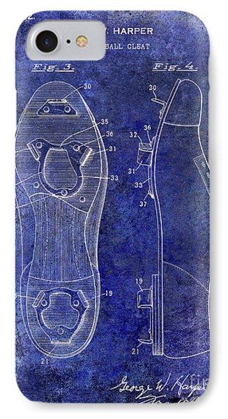 1932 Baseball Cleats Patent Blue IPhone Case by Jon Neidert