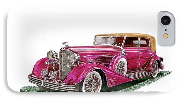 IPhone Case featuring the painting 1932 Cadillac All Weather Phaeton V 16 by Jack Pumphrey