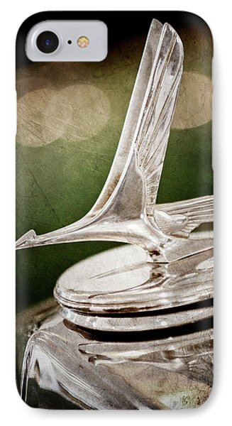 IPhone Case featuring the photograph 1932 Studebaker Dictator Hood Ornament -0850ac by Jill Reger