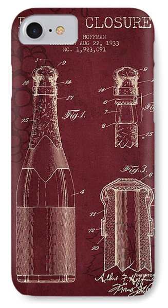 1933 Bottle Closure Patent - Red Wine IPhone Case by Aged Pixel