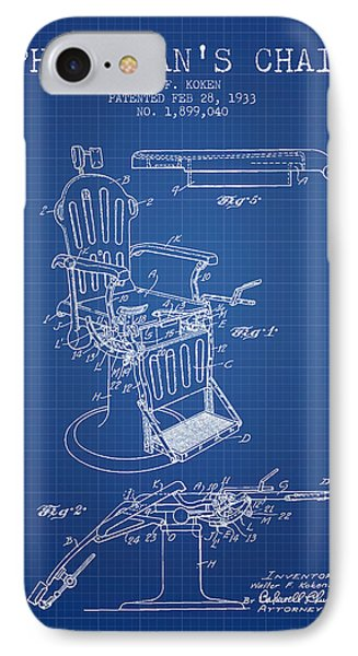 1933 Physicians Chair Patent - Blueprint IPhone Case by Aged Pixel