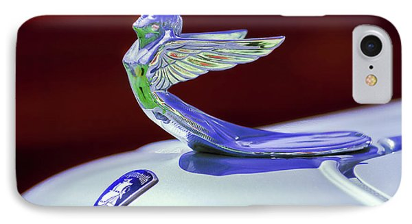 IPhone Case featuring the photograph 1933 Plymouth Hood Ornament -0121rc by Jill Reger