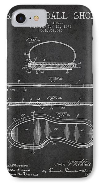 1934 Basket Ball Shoe Patent - Charcoal IPhone Case