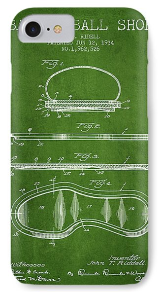 1934 Basket Ball Shoe Patent - Green IPhone Case