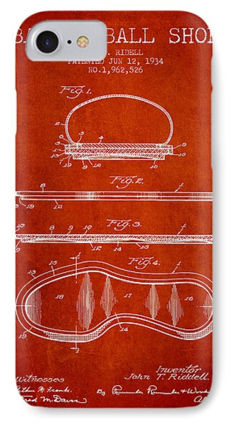 1934 Basket Ball Shoe Patent - Red IPhone Case