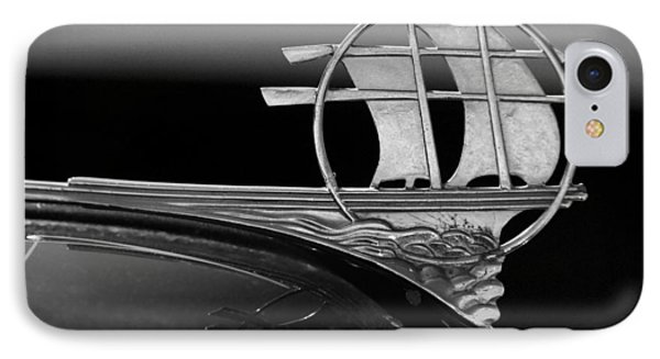 1934 Plymouth Hood Ornament Black And White Phone Case by Jill Reger