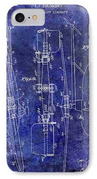 1935 Helicopter Patent Blue IPhone 7 Case by Jon Neidert