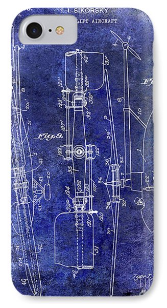 1935 Helicopter Patent Blue IPhone Case by Jon Neidert