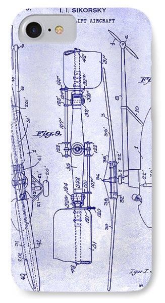 1935 Helicopter Patent Blueprint IPhone 7 Case by Jon Neidert