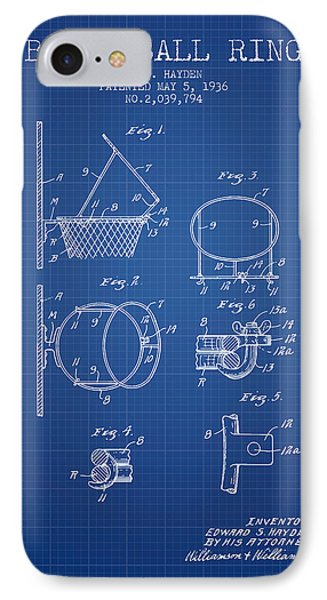 1936 Basketball Ring Patent - Blueprint IPhone Case