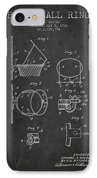 1936 Basketball Ring Patent - Charcoal IPhone Case