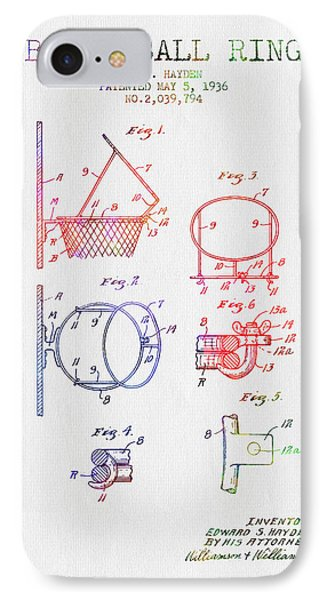 1936 Basketball Ring Patent - Color IPhone Case