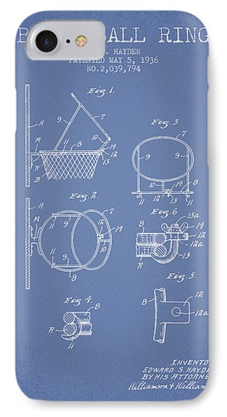 1936 Basketball Ring Patent - Light Blue IPhone Case