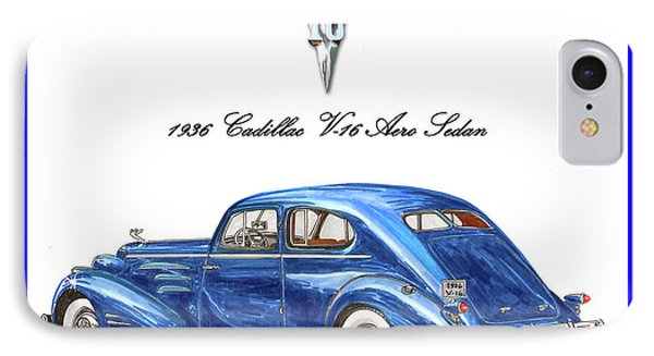 IPhone Case featuring the painting 1936 Cadillac V-16 Aero Coupe by Jack Pumphrey