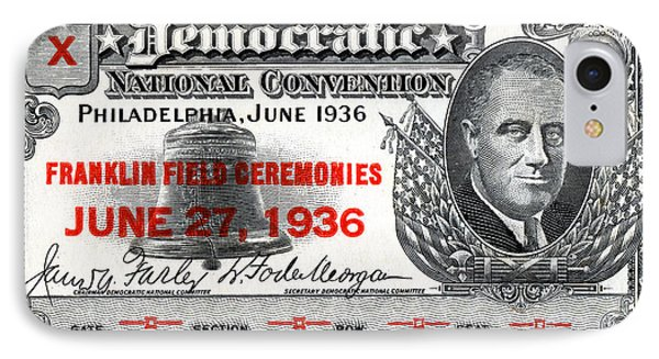 1936 Democrat National Convention Ticket IPhone Case by Historic Image