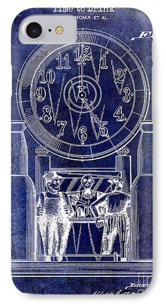 1937 Beer Clock Patent Blue IPhone Case by Jon Neidert