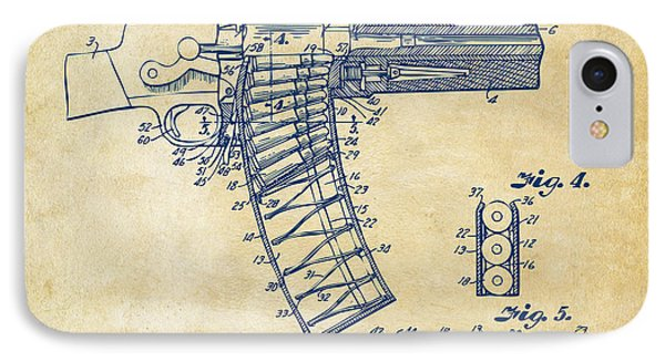 1937 Police Remington Model 8 Magazine Patent Minimal - Vintage IPhone Case by Nikki Marie Smith