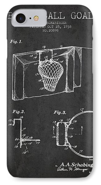 1938 Basketball Goal Patent - Charcoal IPhone Case