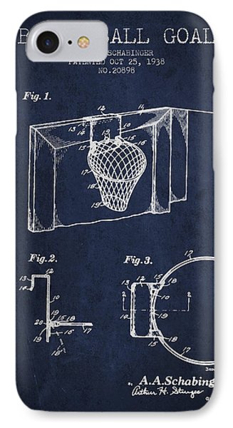 1938 Basketball Goal Patent - Navy Blue IPhone Case