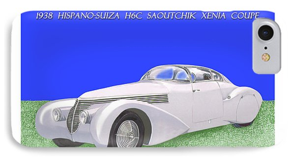 1938 Hispano Suiza H6c Saoutchik Xenia Coupe IPhone Case by Jack Pumphrey
