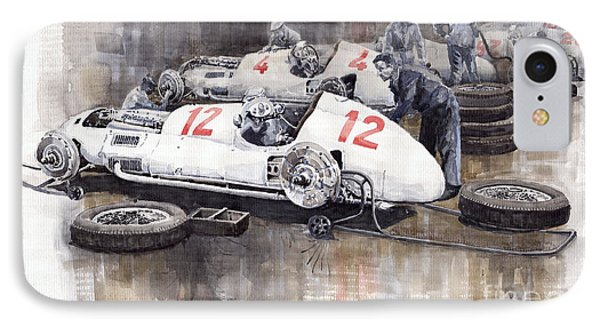 1938 Italian Gp Mercedes Benz Team Preparation In The Paddock Phone Case by Yuriy  Shevchuk