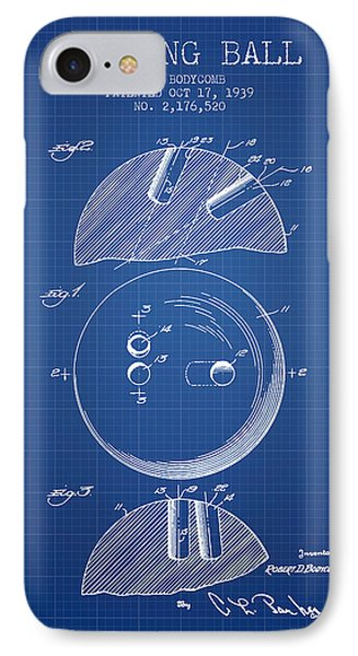 1939 Bowling Ball Patent - Blueprint IPhone Case