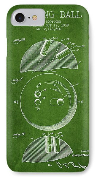 1939 Bowling Ball Patent - Green IPhone Case