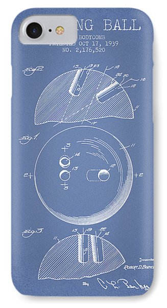 1939 Bowling Ball Patent - Light Blue IPhone Case