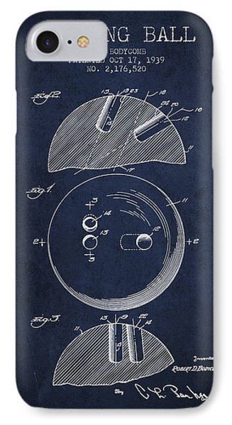 1939 Bowling Ball Patent - Navy Blue IPhone Case
