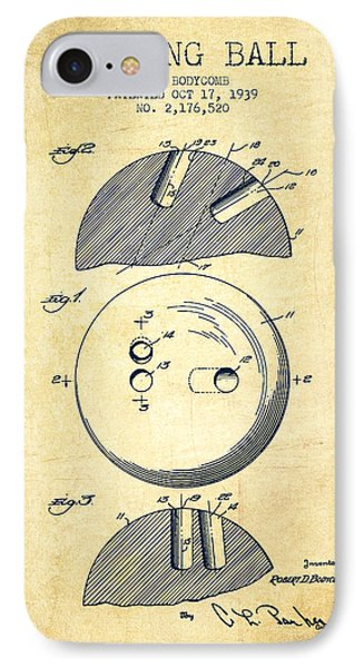 1939 Bowling Ball Patent - Vintage IPhone Case