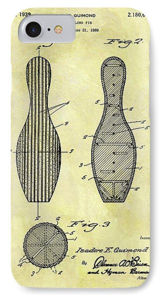 1939 Bowling Pin Patent IPhone Case