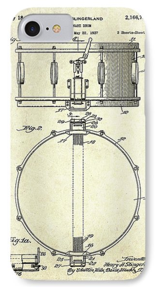 1939 Slingerland Snare Drum Patent S1 IPhone 7 Case by Gary Bodnar