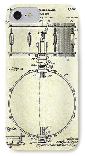 1939 Slingerland Snare Drum Patent S1 IPhone Case by Gary Bodnar