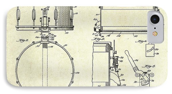 1939 Slingerland Snare Drum Patent Sheets IPhone 7 Case by Gary Bodnar