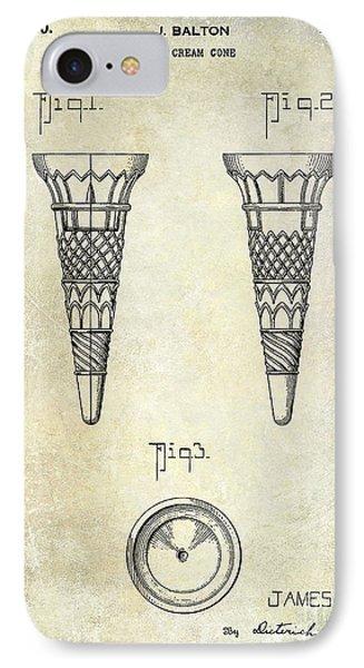 1940 Ice Cream Cone Patent IPhone Case by Jon Neidert