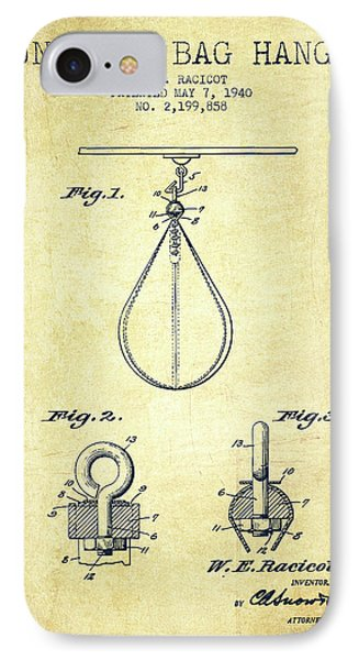 1940 Punching Bag Hanger Patent Spbx13_vn IPhone Case by Aged Pixel