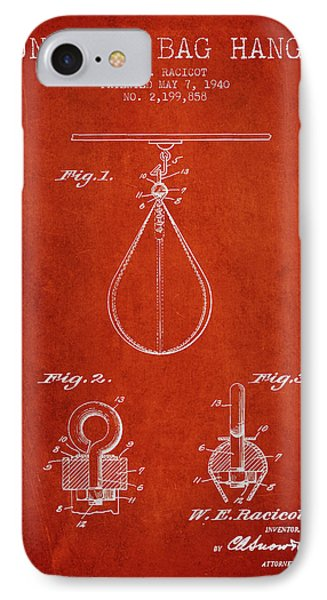1940 Punching Bag Hanger Patent Spbx13_vr IPhone Case by Aged Pixel