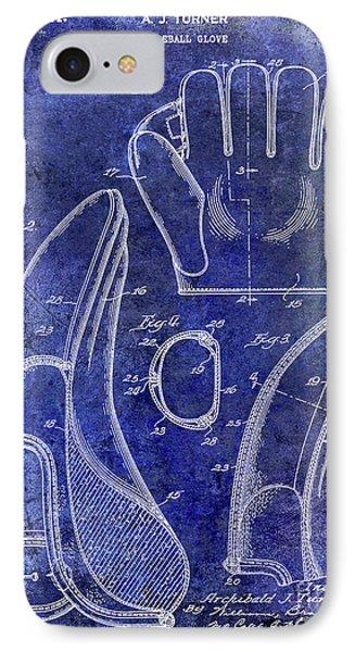 1941 Baseball Glove Patent Blue IPhone Case by Jon Neidert