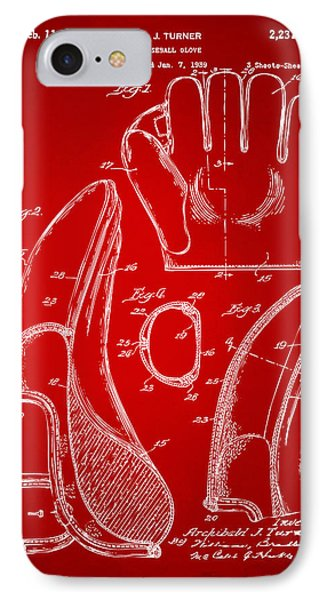 1941 Baseball Glove Patent - Red IPhone Case by Nikki Marie Smith