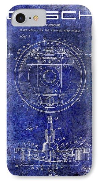 1941 Porsche Brake Mechanism Patent Blue  IPhone Case