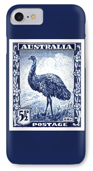 Emu iPhone 7 Case - 1942 Australia Emu Bird Postage Stamp by Retro Graphics