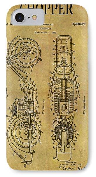 1942 Chopper Motorcycle Patent IPhone Case
