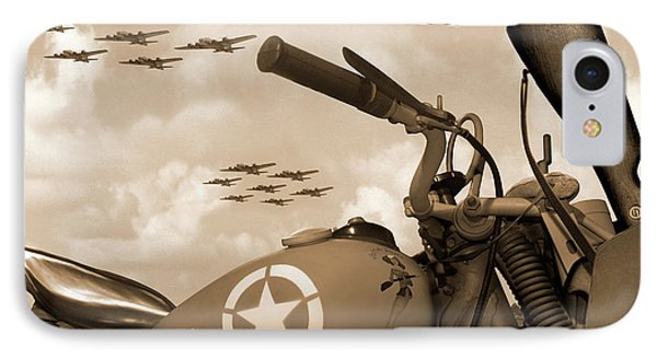 IPhone Case featuring the photograph 1942 Indian 841 - B-17 Flying Fortress - H by Mike McGlothlen