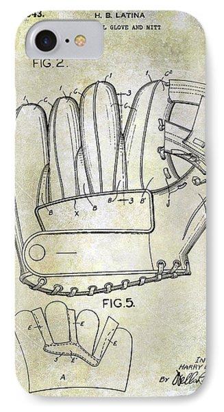 1943 Baseball Glove Patent IPhone Case by Jon Neidert