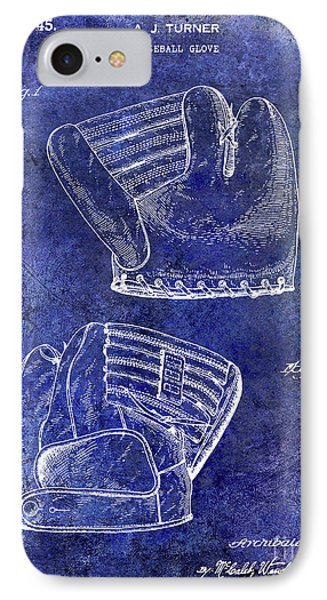 1945 Baseball Glove Patent Blue IPhone Case by Jon Neidert