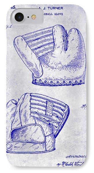 1945 Baseball Glove Patent Blueprint IPhone Case by Jon Neidert