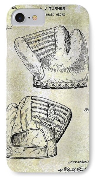1945 Baseball Glove Patent IPhone Case by Jon Neidert